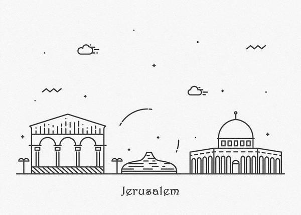Landmark Center Drawing - Jerusalem Cityscape Travel Poster by Inspirowl Design