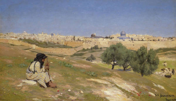 Wall Art - Painting - Jerusalem From The South East by H A  Brendekilde