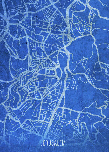 Wall Art - Mixed Media - Jerusalem Israel City Street Map Blueprints by Design Turnpike