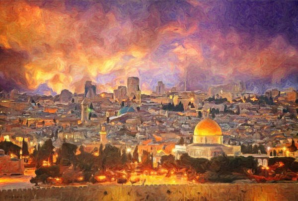 Wall Art - Painting - Jerusalem Skyline by Zapista Zapista