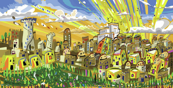 Painting - Jerusalem Third Temple by Yom Tov Blumenthal
