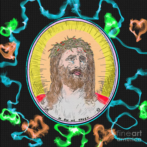 Painting - Jesus And Blue by Donna L Munro