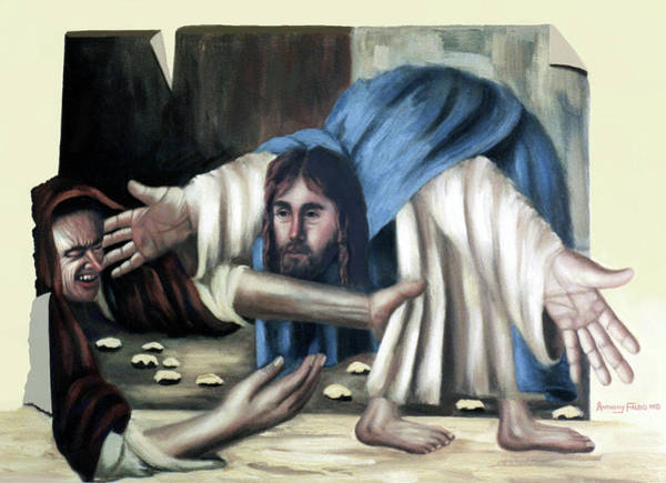 Wall Art - Painting - Jesus And The Old Lady by Anthony Falbo