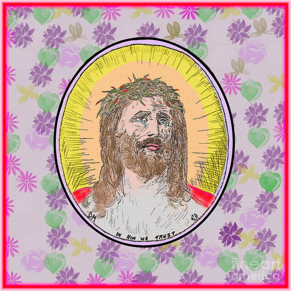 Painting - Jesus Flowers Edges by Donna L Munro