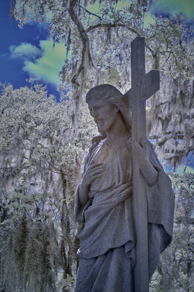 Wall Art - Photograph - Jesus Graveyard Statue by Jon Glaser