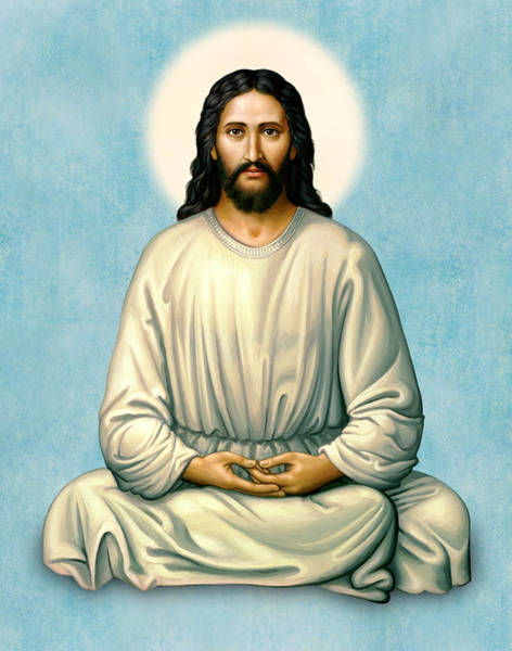 Painting - Jesus Meditating - The Christ Of India - On Blue by Sacred Visions