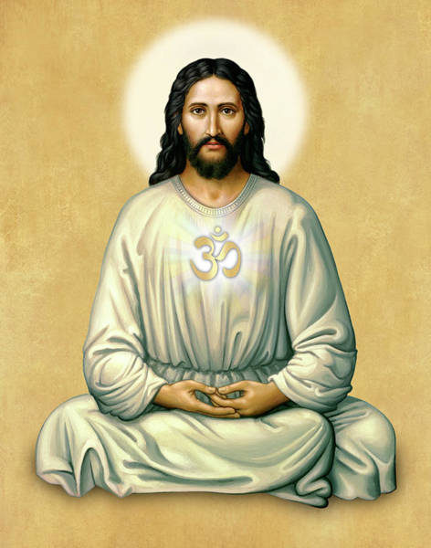 Jesus Meditating - The Christ Of India - On Gold With Om Art Print