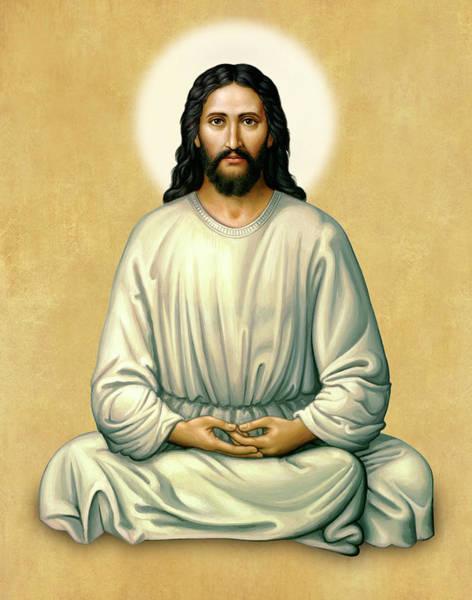 Jesus Meditating - The Christ Of India - On Gold Art Print