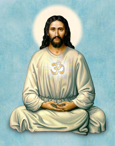 Painting - Jesus Meditating With Om On Blue by Sacred Visions