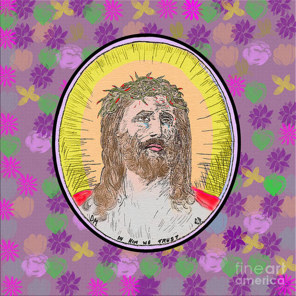 Digital Art - Jesus On Flowers by Donna L Munro