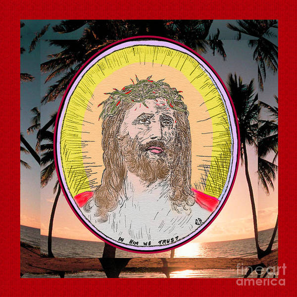 Painting - Jesus On Palms Red Effect by Donna L Munro