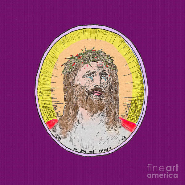 Painting - Jesus On Purple by Donna L Munro