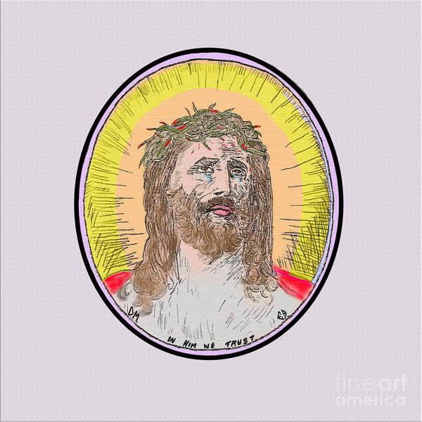 Painting - Jesus On White by Donna L Munro