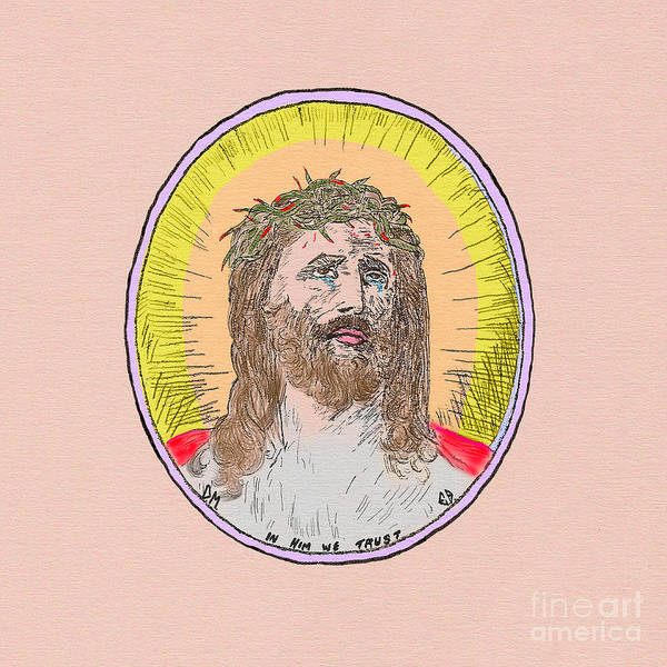 Painting - Jesus Peach Paper by Donna L Munro