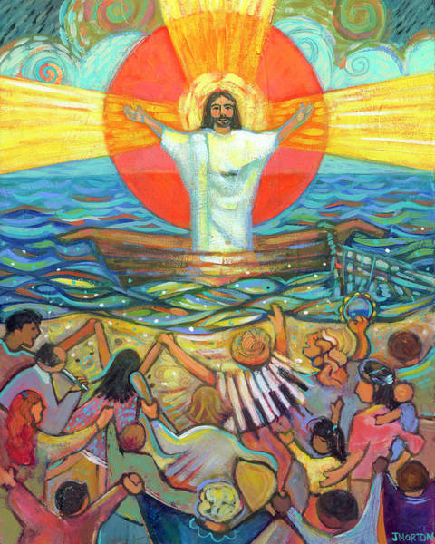 Wall Art - Painting - Jesus Preaches To The Choir by Jen Norton