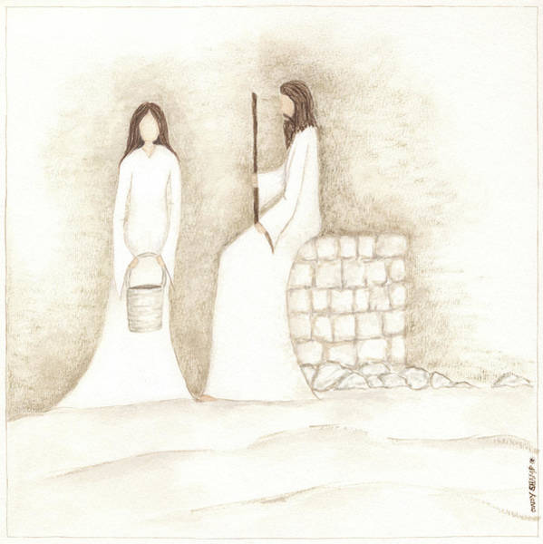 Wall Art - Painting - Jesus Talks With Woman At Well by Cindy Shamp