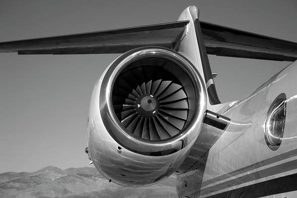Vertical Stabilizer Photograph - Jet Engine In Black And White by Sierrarat