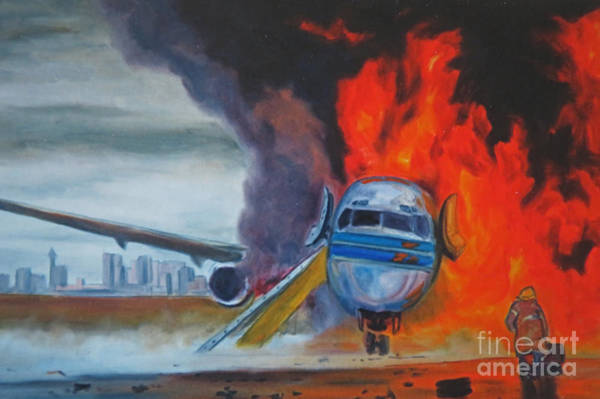 Wall Art - Painting - Jet Fire On The Tarmac by John Malone