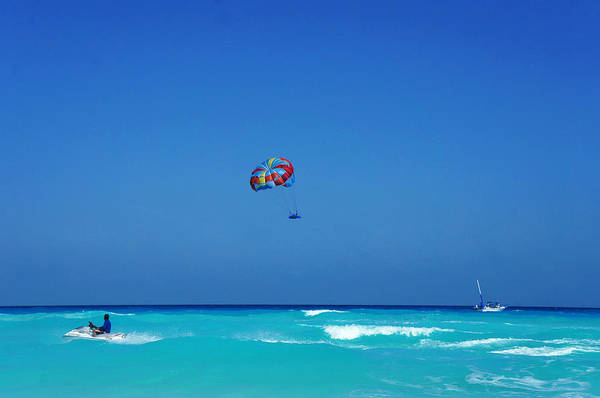 Motorboat Photograph - Jet Skiing And Parasailing In The by Tony Ibarra Photography