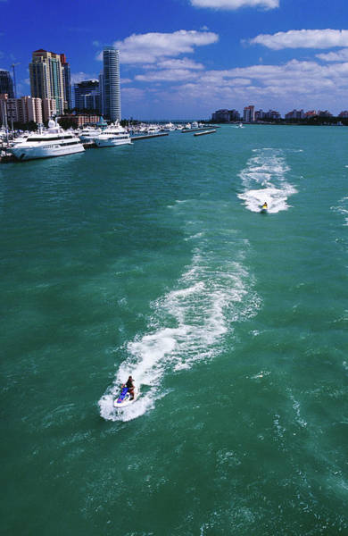 Biscayne Wall Art - Photograph - Jet Skis On Biscayne Bay Near Miami by Richard I'anson