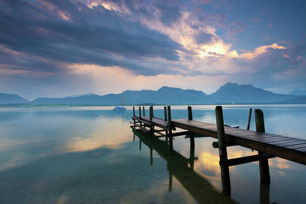 Jetty Photograph - Jetty At Lake Forggensee After A by Ingmar Wesemann
