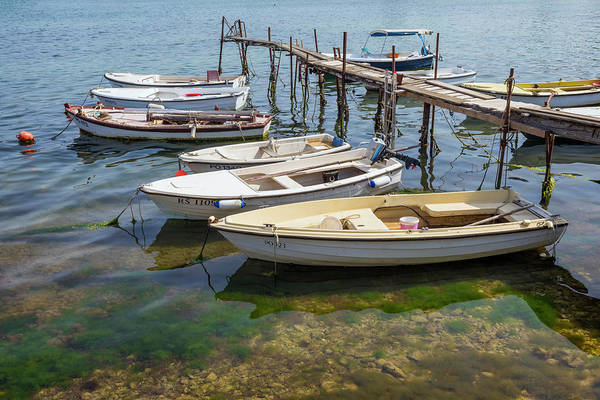 Wall Art - Photograph - Jetty With Moored Boats.  Porec by Ken Welsh