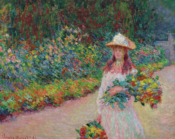 Wall Art - Painting - Jeune Fille Dans Le Jardin De Giverny by Claude Monet