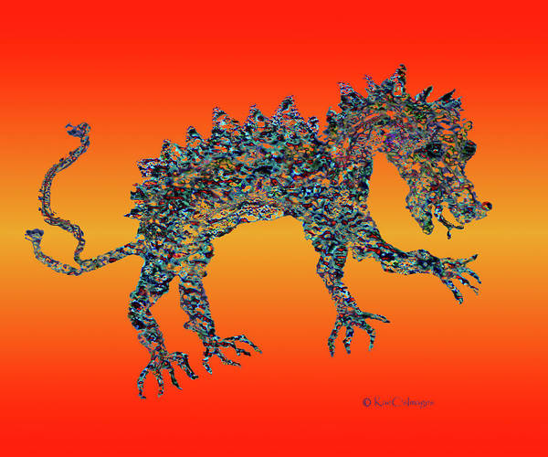 Digital Art - Jeweled Beast Dragon 1  by Kae Cheatham