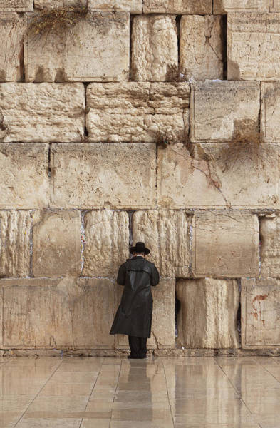 Spirituality Photograph - Jewish Man Praying On The Wailing Wall by Richmatts