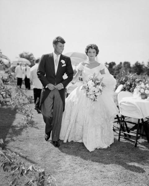 Us President Photograph - Jfk And Jackie Kennedy At Their Wedding by Bachrach