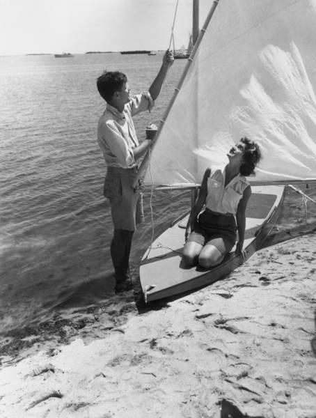 Us President Photograph - Jfk Sailing by Hulton Archive