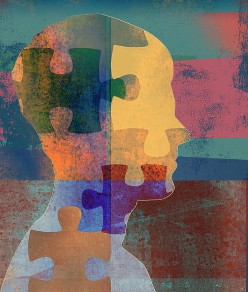 Wall Art - Photograph - Jigsaw Puzzle Pieces Over Mans Profile by Ikon Images