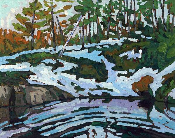 Painting - Jim Day Spring Reflections Of Winter by Phil Chadwick
