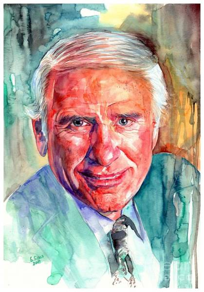 Changing Painting - Jim Rohn Portrait by Suzann Sines