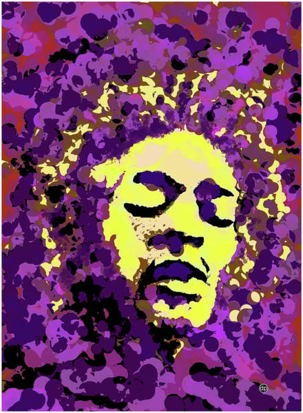 Wall Art - Digital Art - Jimi Hendrix In Purple Haze by Digital Painting