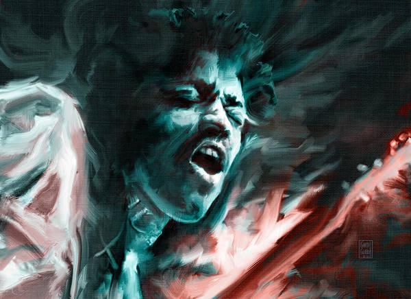 Wall Art - Digital Art - Jimi Hendrix On Fire by Garth Glazier