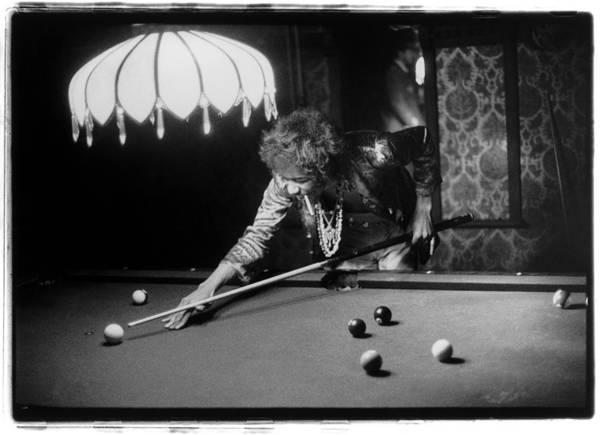 Guitarist Photograph - Jimi Hendrix Plays Pool by Ed Caraeff/morgan Media