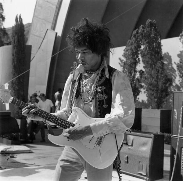 Jimi Hendrix Photograph - Jimi Hollywood Bowl Soundcheck by Michael Ochs Archives
