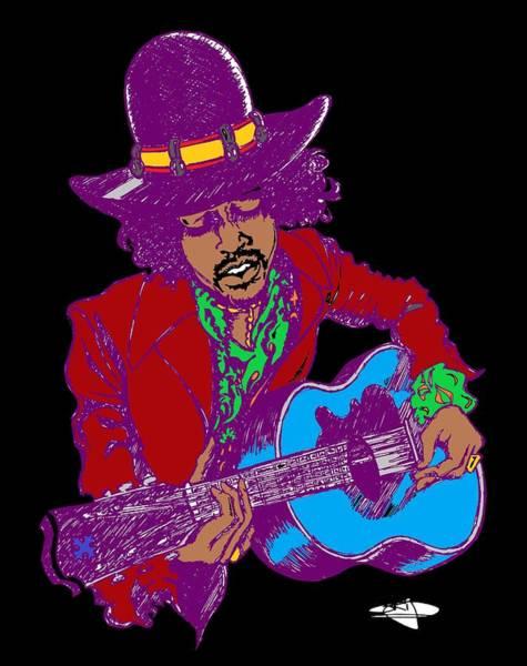 Sax Drawing - Jimi Purple Black by SKIP Smith