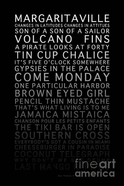 Wall Art - Photograph - Jimmy Buffett Concert Set List Gradient Font On Black by John Stephens