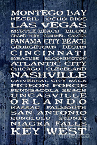 Wall Art - Photograph - Jimmy Buffett Margaritaville Locations White Font On Blue Cracked Boat Paint by John Stephens