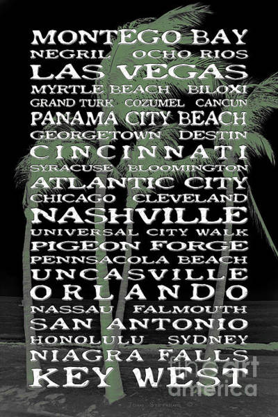 Wall Art - Photograph - Jimmy Buffett Margaritaville Locations White Font On Black With Green Palm Silhouettes by John Stephens