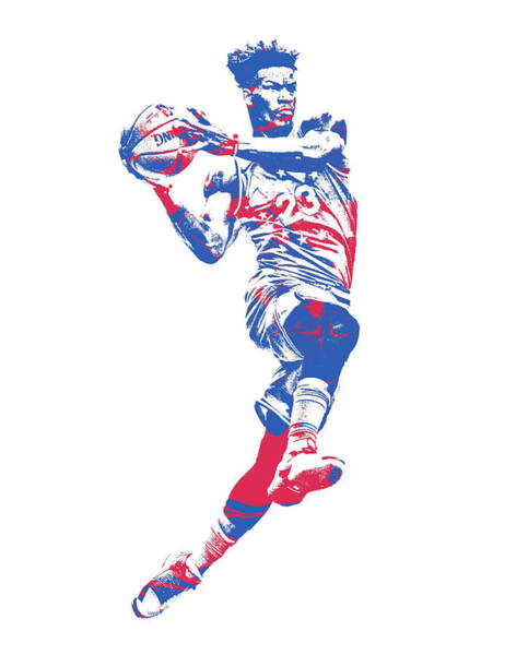 Wall Art - Mixed Media - Jimmy Butler Philadelphia 76ers Pixel Art 1 by Joe Hamilton
