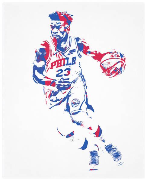 Wall Art - Mixed Media - Jimmy Butler Philadelphia 76ers Pixel Art 100 by Joe Hamilton