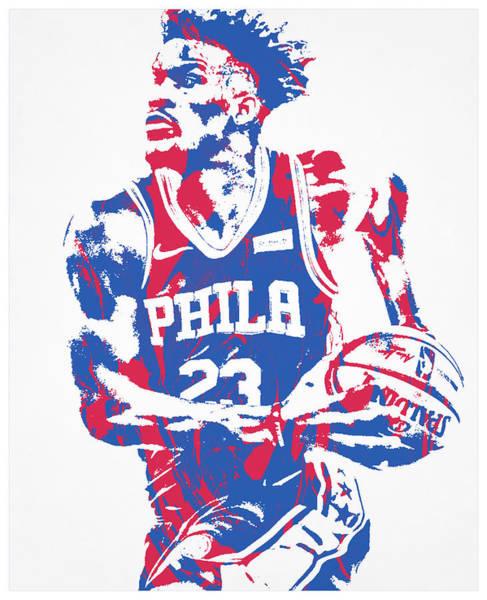 Wall Art - Mixed Media - Jimmy Butler Philadelphia 76ers Pixel Art 101 by Joe Hamilton