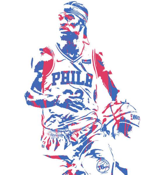 Wall Art - Mixed Media - Jimmy Butler Philadelphia 76ers Pixel Art 150 by Joe Hamilton