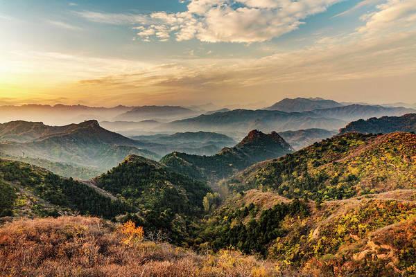 Wall Art - Photograph - Jinshanling Mountains At Sunrise by Adam Jones