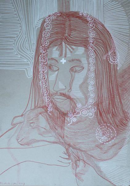 Painting - Jishu Christo Jesus Christ The Good Shepherd by Gloria Ssali