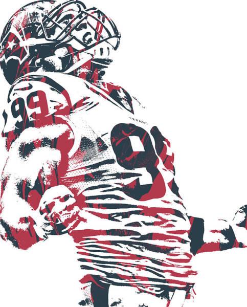 Wall Art - Mixed Media - Jj Watt Houston Texans Pixel Art 100 by Joe Hamilton