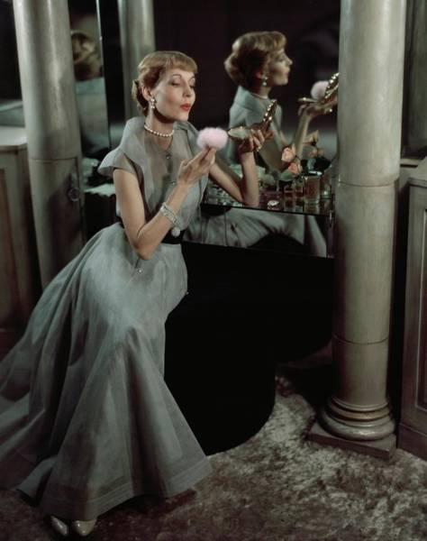 Jo Copeland In A Gray Dress Art Print by Horst P. Horst